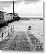 Seaside Heights Beach In Black And White Metal Print by John Rizzuto