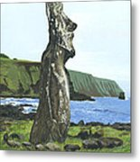Seaside Moai Metal Print