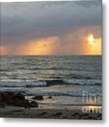 Seaside Rainstorm Metal Print