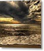Seaside Sundown With Dramatic Sky Metal Print