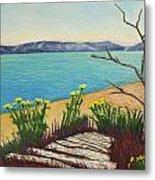 Seaside Island Beach With Flowers Metal Print