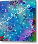 Season Greetings - Snowflakes Metal Print