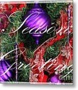 Seasons Greetings - Greeting Card - Purple - Red - Gold Metal Print