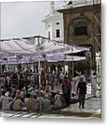 Seated Devotees Inside The Golden Temple Metal Print