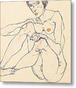 Seated Female Nude Metal Print