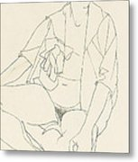 Seated Female Nude With Open Blouse Metal Print