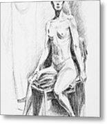 Seated Model Drawing  Metal Print