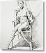 Seated Nude Model Study Metal Print