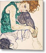 Seated Woman With Legs Drawn Up. Adele Herms Metal Print