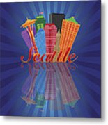 Seattle Abstract Skyline Reflection Background Illustration Metal Print