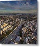 Seattle And Rainier Golden Light Metal Print