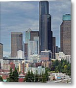 Seattle City Skyline At Rush Hour Metal Print