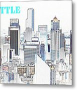 Seattle City With Print Metal Print