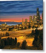 Seattle Cityscape After Sunset Metal Print