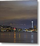 Seattle Cityscape At Night Metal Print