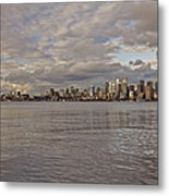 Seattle Cityscape In Clouds  Metal Print