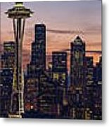 Seattle Cityscape Morning Light Metal Print