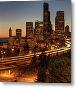 Seattle Downtown Skyline At Dusk Metal Print