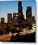 Seattle Downtown Skyline Evening View Metal Print