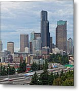 Seattle Downtown Skyline On A Cloudy Day Metal Print