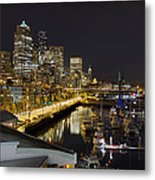 Seattle Downtown Skyline Waterfront Marina Metal Print