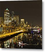Seattle Downtown Waterfront Skyline At Night Reflection Metal Print