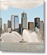 Seattle Downtown With Fireboat Metal Print