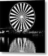 Seattle Great Wheel Black And White Metal Print