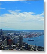 Seattle Harbor And Mt Rainier From Space Needle Metal Print