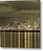 Seattle Lights At Night From Alki Metal Print