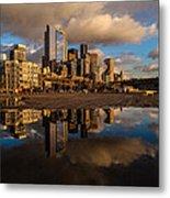 Seattle Pier Sunset Clouds Metal Print