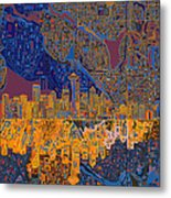 Seattle Skyline Abstract 4 Metal Print