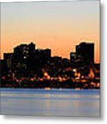 Seattle Skyline And Puget Sound At Sunrise Metal Print