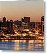 Seattle Skyline At Dawn Along Puget Sound Metal Print