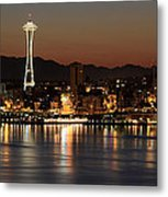 Seattle Skyline At Night By The Pier Panorama Metal Print