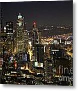 Seattle Skyline At Night Metal Print