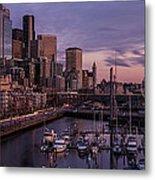 Seattle Skyline Bell Harbor Dusk Metal Print