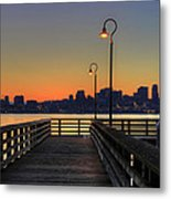 Seattle Skyline From The Pier At Sunrise Metal Print
