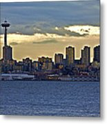 Seattle Skyline In Twilight Metal Print