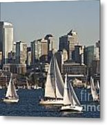 Seattle Skyline With Sailboats Metal Print