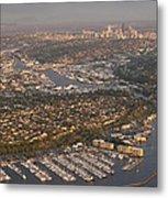 Seattle Skyline With Shilshole Marina Along The Puget Sound  Metal Print