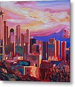 Seattle Skyline With Space Needle And Mt Rainier Metal Print