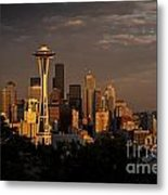 Seattle Skyline With Space Needle And Stormy Weather Metal Print