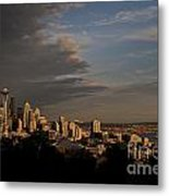 Seattle Skyline With Space Needle And Stormy Weather With Mount  Metal Print