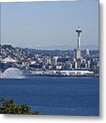 Seattle Space Needle And Fire Boat Metal Print