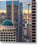 Seattle Space Needle Golden Sunset Light Metal Print
