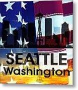 Seattle Wa Patriotic Large Cityscape Metal Print