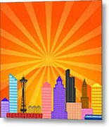 Seattle Washington City Skyline Panorama Metal Print