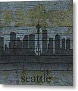 Seattle Washington City Skyline Silhouette Distressed On Worn Peeling Wood Metal Print