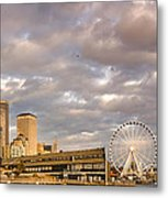 Seattle Waterfront Bathed In Golden Hour - Seattle Skyline - Puget Sound Washington State Metal Print